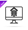 black line computer monitor with smart home icon vector image vector image
