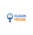 blue house plumbing roof logo vector image