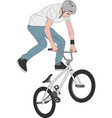 bmx stunt bicyclist vector image vector image