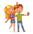 boy and girl posing together vector image