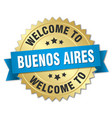 buenos aires 3d gold badge with blue ribbon vector image vector image