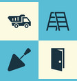 building icons set collection of entrance stair vector image vector image