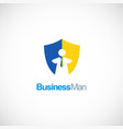 business man shield logo vector image vector image