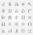 chemistry icons set - chemical science line vector image