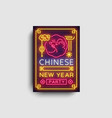 chinese new year 2020 party poster neon vector image vector image