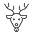 christmas deer line icon christmas and reindeer vector image