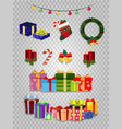 christmas set of cute cartoon festive attributes vector image