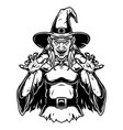 creepy witch wearing hat and cape vector image vector image