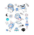 cute animals astronauts in helmets vector image