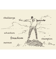 Drawn successful climber mountain sketch vector image vector image