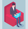 freelancer or businessman with laptop in armchair vector image