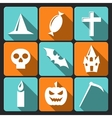 Halloween flat icons with long shadow Set 3 vector image