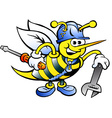 Hand-drawn of an Happy Working Bee Holding Wrench vector image vector image