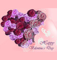 happy valentine card with flower peonies heart vector image vector image