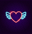 heart wings neon sign vector image vector image
