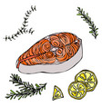 image of steak of red fish salmon lemon and herbs vector image vector image
