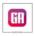 initial ga letter logo template design vector image vector image