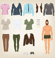 male hipster dress up paper doll with an vector image vector image