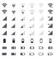 mobile interace icons battery charge wi-fi vector image vector image