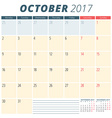 October 2017 Calendar Planner for 2017 Year Week vector image vector image
