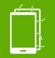 opened phone icon green vector image vector image