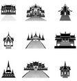 pagoda and temple silhouette black icon vector image