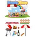 picnic set with bbq grill and food on white vector image vector image