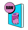 raw file icon cartoon vector image vector image