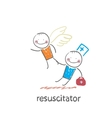 resuscitator keeps flying away into the sky vector image vector image