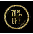 Sale 70 off discount type on Golden glitter vector image