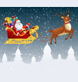 santa claus in a sleigh with a bag full gifts vector image vector image