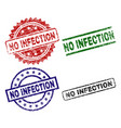 scratched textured no infection seal stamps vector image vector image
