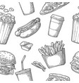 seamless pattern fast food vector image vector image