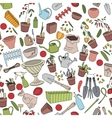 Seamless pattern with gardening tools flower pots vector image