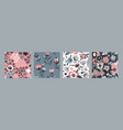 set colorful natural floral seamless vector image