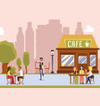 street cafe with outdoor seating - cartoon waiter vector image