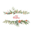 watercolor christmas banner with fir vector image vector image