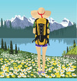 woman traveler looking at mountain lake in summer vector image vector image