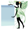 young fairy girl in green dress with a banner vector image vector image