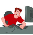 a young man sits at a computer and breaks the vector image