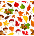 autumn leaf mushroom seamless pattern background vector image vector image
