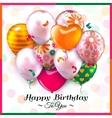 birthday card with colorful balloons and confetti vector image vector image