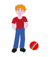 boy teenager with a rubber ball vector image vector image