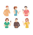 cartoon color characters people use phones concept vector image vector image
