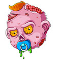 cartoon scary bazombie face on white background vector image vector image