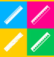 centimeter ruler sign four styles of icon on four vector image vector image