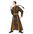 chinese man wearing traditional clothes vector image