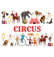 circus animals clowns and acrobatic equilibrists vector image vector image