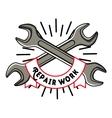 Color vintage repair workshop emblem vector image vector image