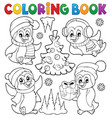 coloring book christmas penguins 1 vector image vector image